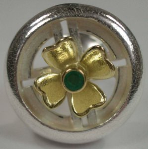 BMW-Inspired Silver & 18ct Yellow Gold Spinner Cufflink set with Emerald
